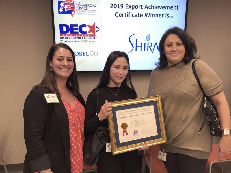 Export Achievement Certificate Tricia McLain and Shira Esthetics