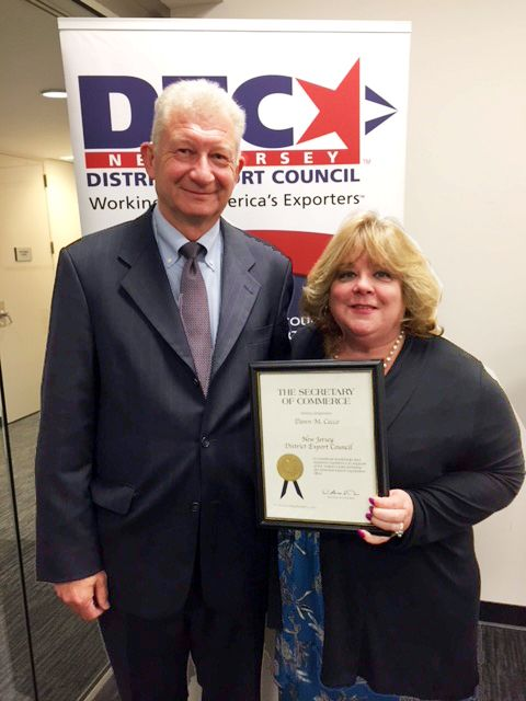 NJDEC certificate Michel Wouters and Dawn Cecco